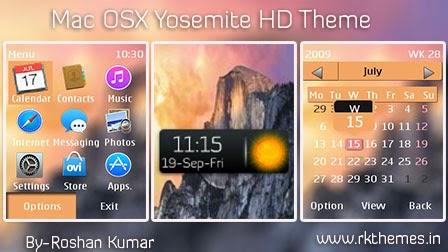 MAC OS X Yosemite Live HD Theme For Nokia Asha202,300,303,C2