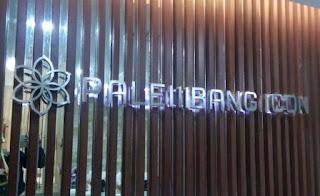 Huruf timbul palembang palembang icon terbuat dari bahan stenlis doff hairline yang memakai lampu LED