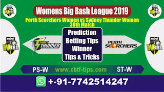Who will win Today WBBL 2019, 30th Match ST-W vs PS-W 30th, WBBL T20 2019