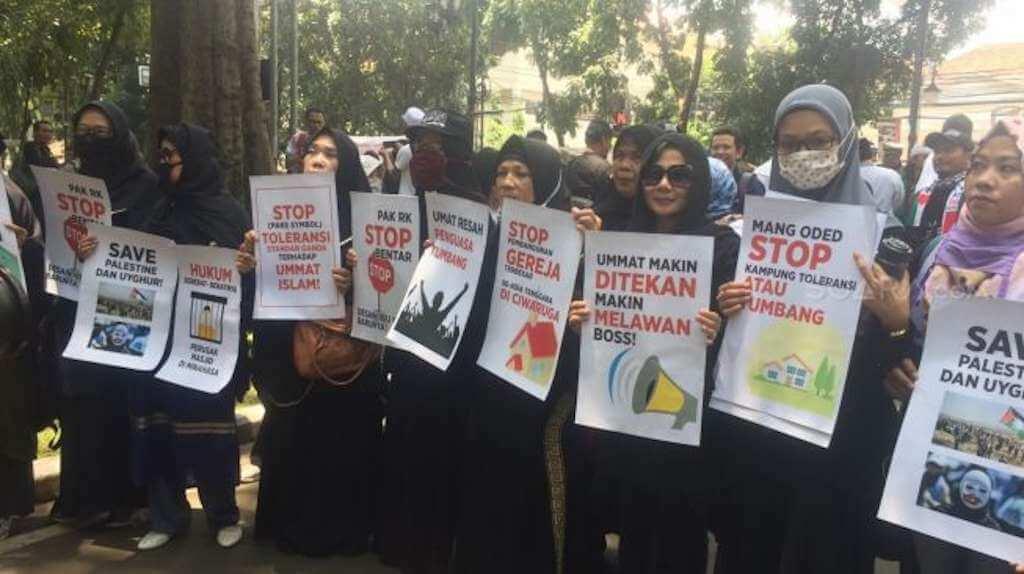 Forum Ormas Islam (Formasi) Jawa Barat Demo Tolak Parade Budaya Lintas Agama di Bandung