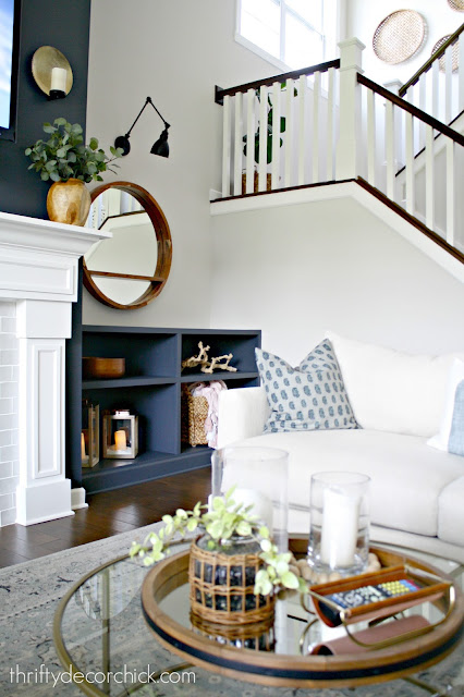 Dark walls on fireplace and built ins