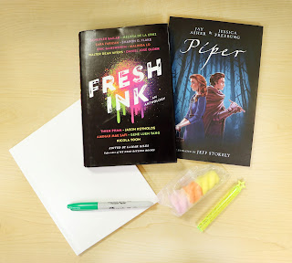 Fresh Ink, Piper, a sharpie, some bubbles, and some blank paper from a teen summer reading kits from the Sioux City Public Library