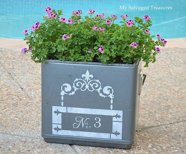 repurpose a vintage ice chest to use as a garden planter