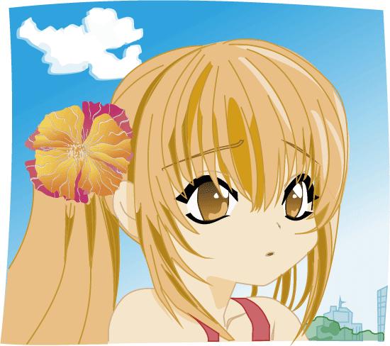 chica manga rubia con una flor en el pelo