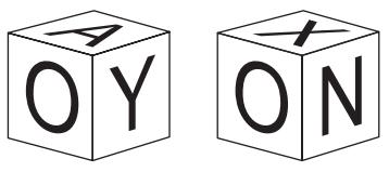 OBMEP 2019 A figura mostra duas vistas de um mesmo cubo com as letras A, O, Y, X, N e E em suas faces