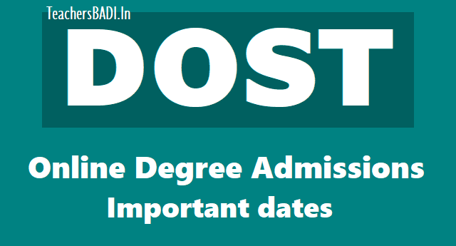 telangana dost online degree admissions important dates, seat allotment 2019,ts dost online degree admissions schedule,seat allotment results 2019,dost online degree admissions application fee 2019