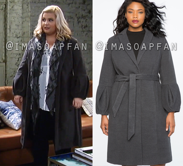 Amy Driscoll, Risa Dorken, Grey Coat with Flounce Sleeves, General Hospital, GH
