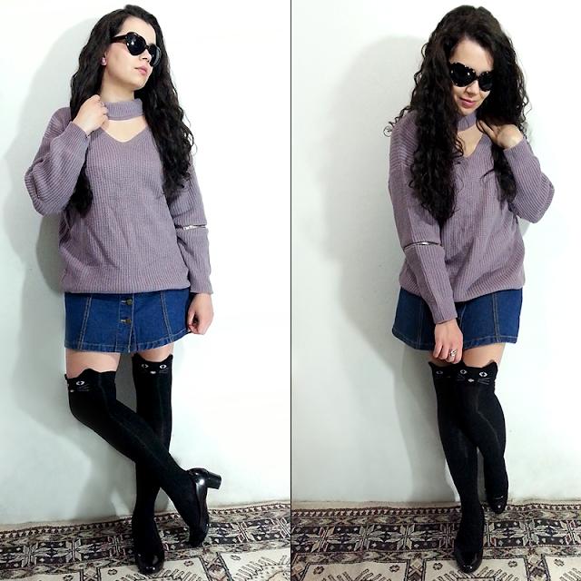 Look Lilac Gray com Meia 7/8