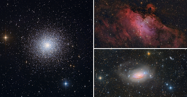 "M13 - The Great Globular Cluster in Hercules, M16 - The Eagle Nebula, and M63 - The Sunflower Galaxy all imaged on Insight Observatory's 16"" f/3.7 Dream astrograph reflector (ATEO-1) remote telescope. M13 and M63 images processed by Utkarsh Mishra and M16 image processed by Bubba Daniels."
