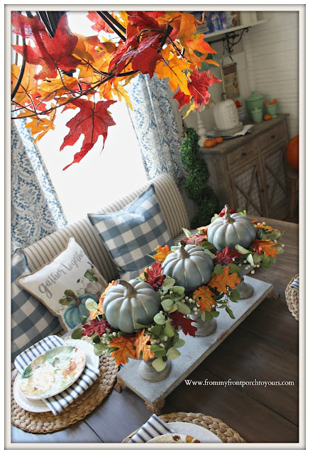 Fall- Tablescape-Chalk-Painted- Pumpkin -Centerpiece-Blue- From My Front Porch To Yours