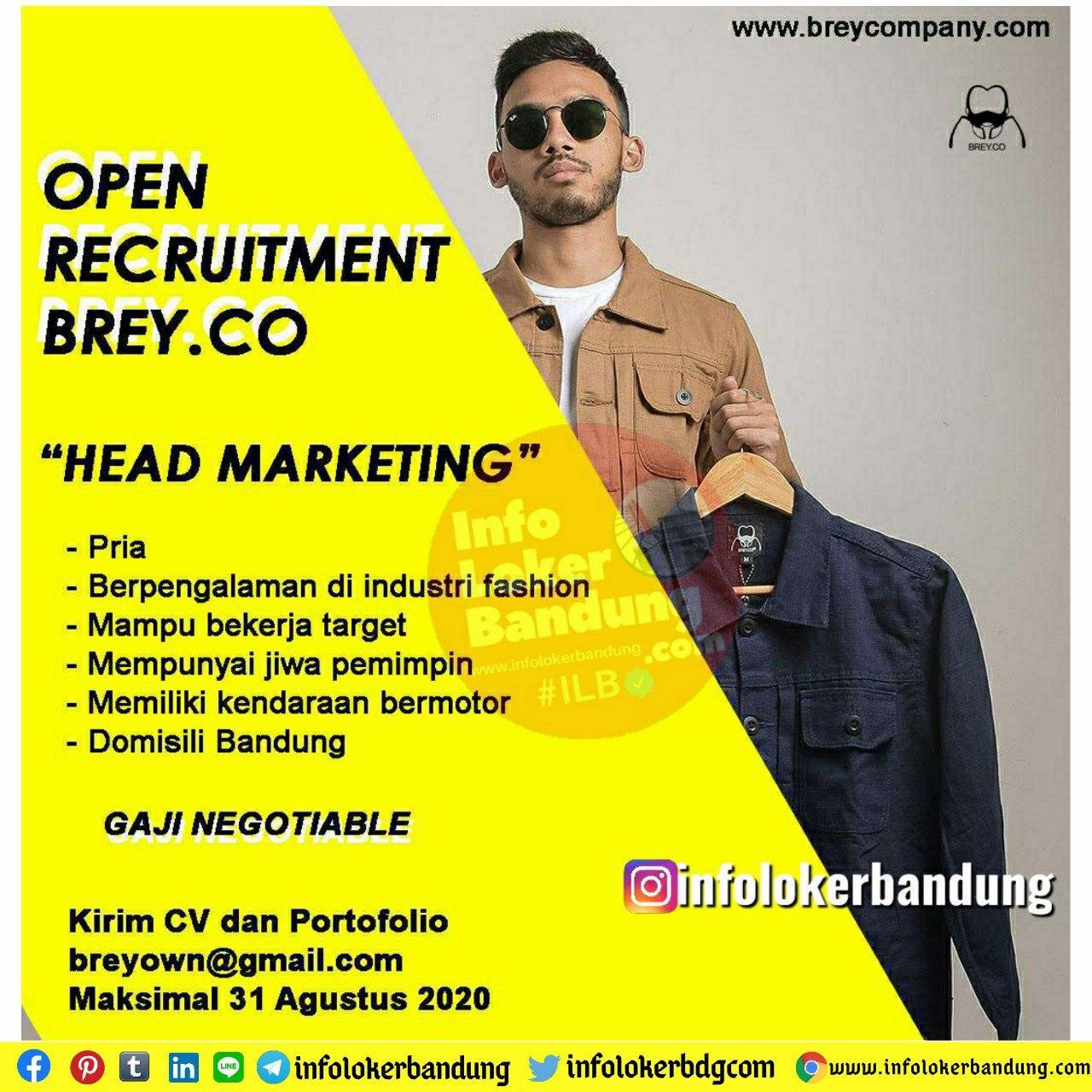 Lowongan Kerja Head Marketing Brey CO Bandung Juli 2020