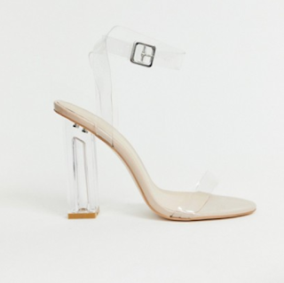 Public Desire Alia clear strap heeled sandals transparentne sandale