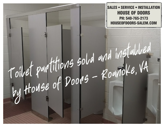 Phenolic toilet partitions sold and installed by House of Doors - Roanoke, VA