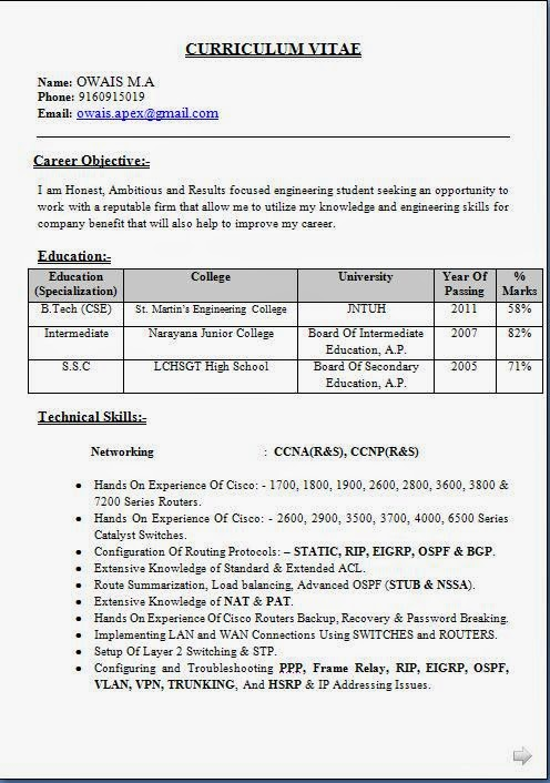 Best Resume Format For Network Engineer Fresher | Best Create