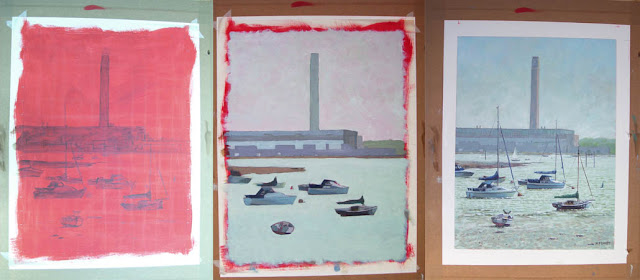 painting stages of Fawley marine scene in Hampshire