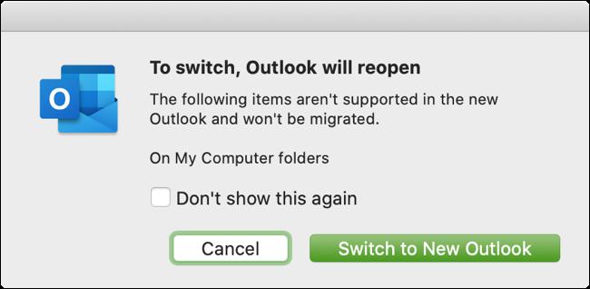 انقر فوق الزر التبديل إلى Outlook جديد