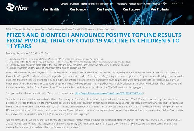 Pfizer BioNTech vaccine efficacy and safety in children 5-11