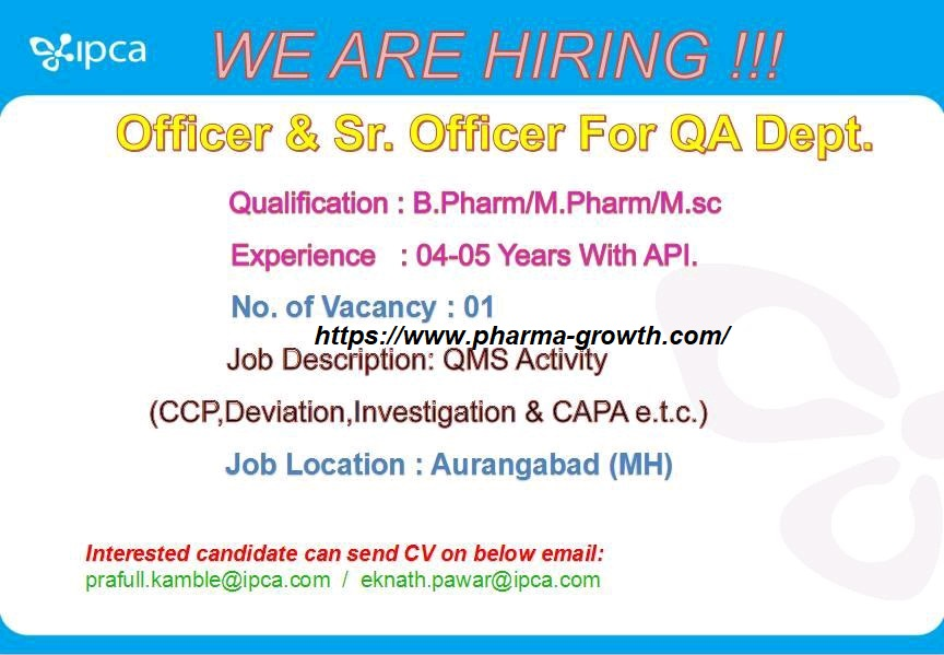 Ipca Laboratories Ltd – Urgently Opening for Quality Control | Apply CV Now