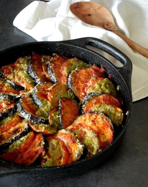Recette gratin d aubergine et de tomates au pesto