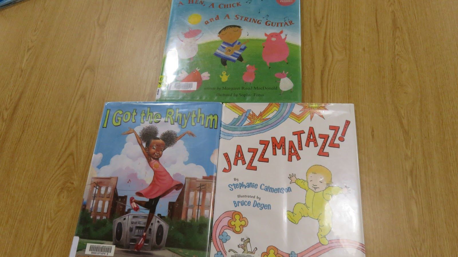 Jazzmatazz! by Stephanie Calmenson (JE CAL) A Hen A Chick and A String Guitar by Margaret Read MacDonald (PROF JE MAC). Craft Paper Plate Shakers & Previous HDQ Storytimes