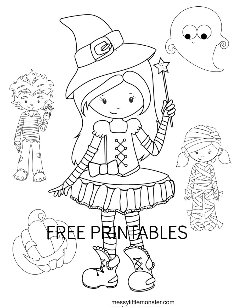 Easy Halloween Colouring Pages