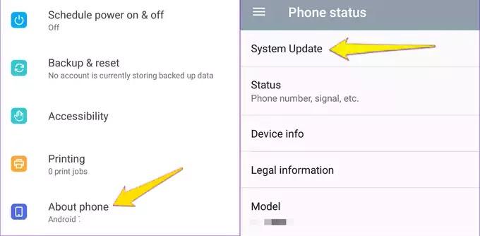 تحديث إعدادات النظام Android