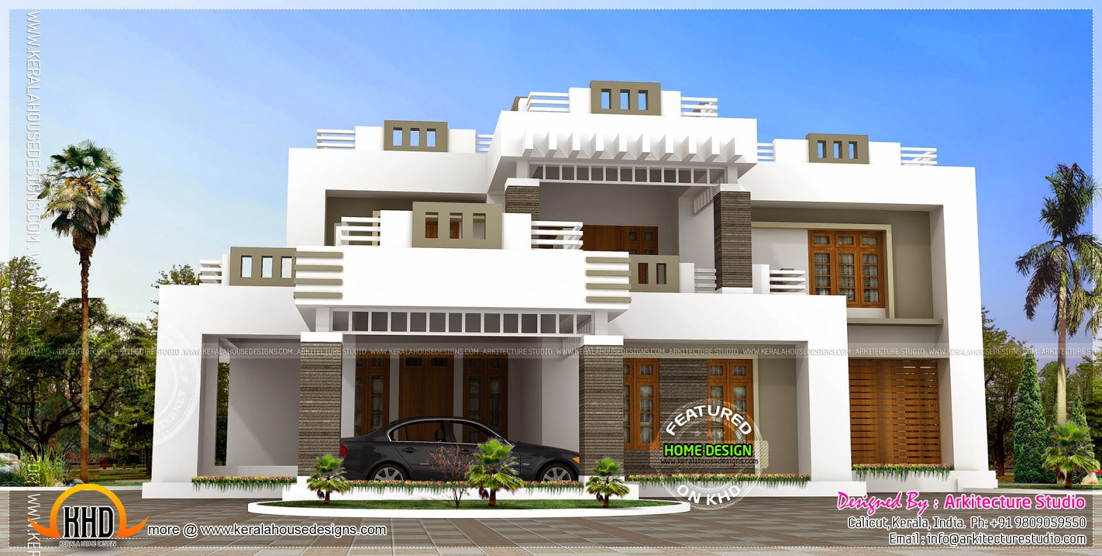 5 bhk contemporary style house exterior home kerala plans for Modern kerala style house plans with photos