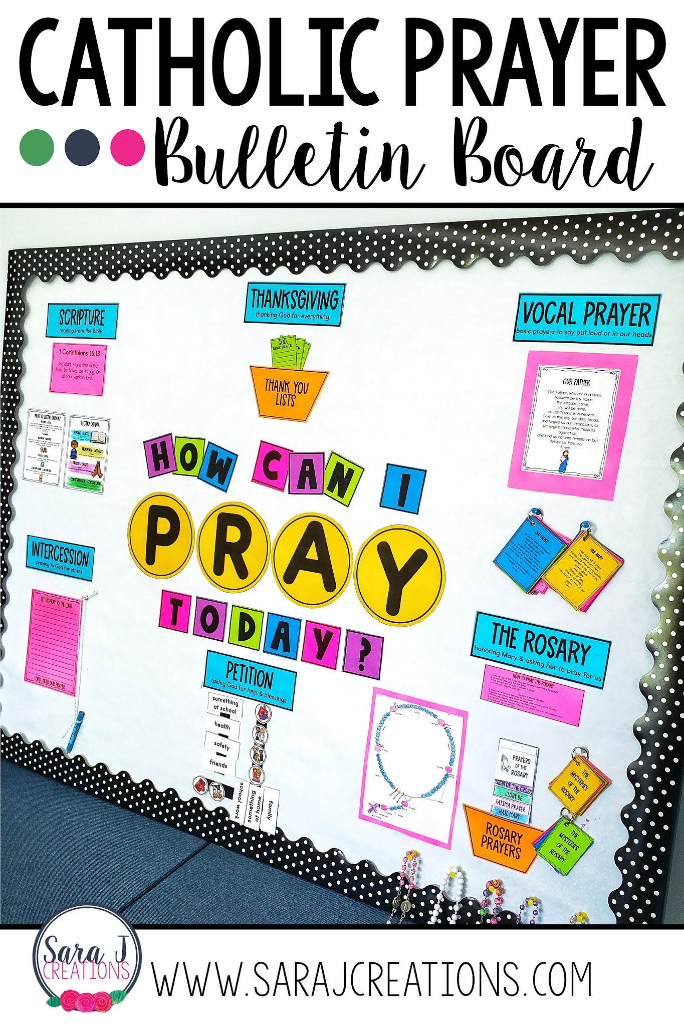 Save time with this printable Catholic Prayers Bulletin Board. Easy to print, assemble and use all year long.