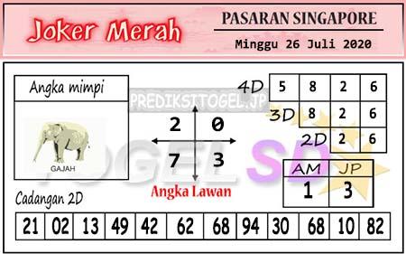 Prediksi Joker Merah SGP Minggu 26 Juli 2020