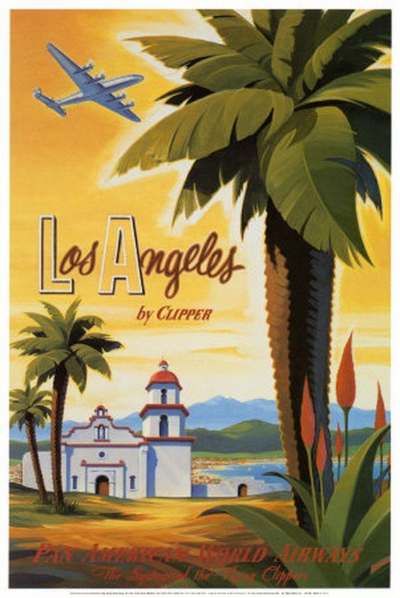 vintage los angeles travel posters