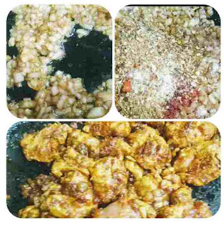 Frying onion, adding masala powder and mixing Chicken for kadai chicken recipe