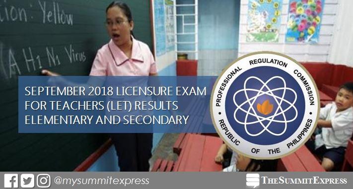 FULL RESULTS: September 2018 LET teachers board exam list of passers