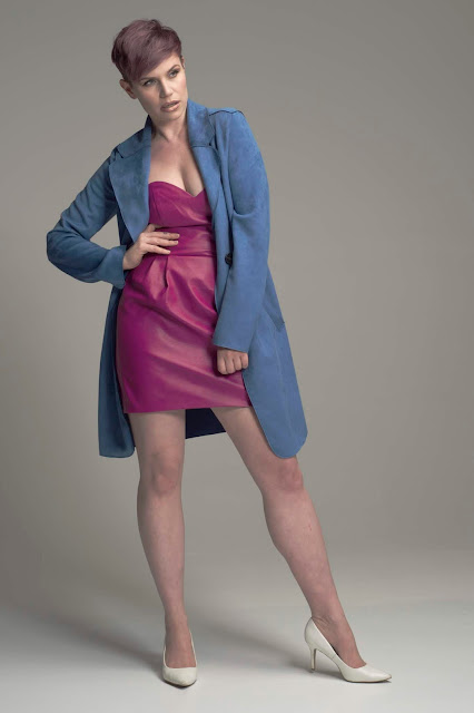blue coat purple dress dress