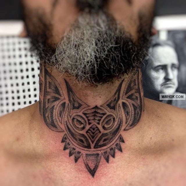 Gambar Tattoo Full Di Leher Asli Foto Keren Dari Desainer Rajah Tato