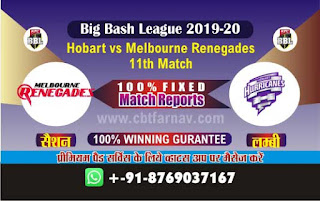 Renegades vs Hobart 11th Match BBL T20 Today Match Prediction Reports