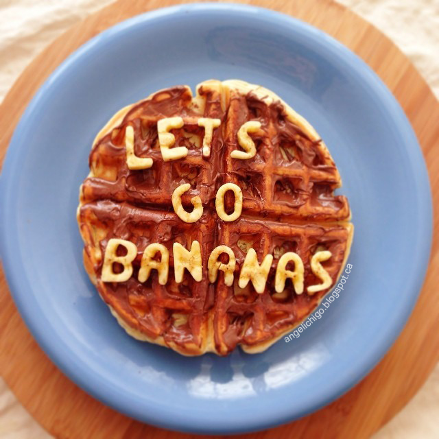 Playing with food - Happy Hump Day! Let's go bananas! Nutella waffle