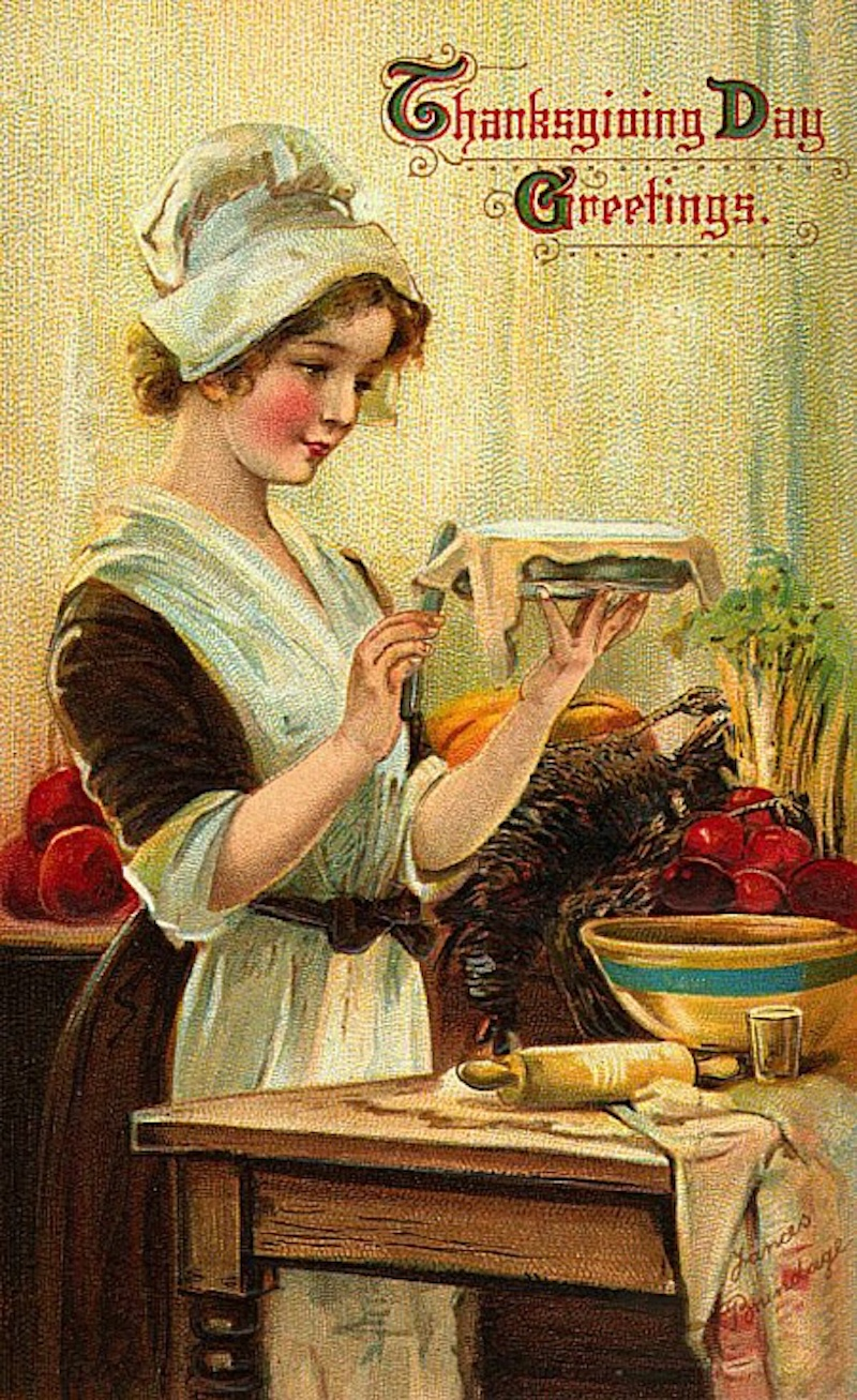 Vintage Thanksgiving Greetings card. A young Pilgrim trims the crust on a pie. Was She on the Mayflower and other stories of giving thanks. marchmatron.com