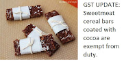 Sweetmeat cereal bars coated with cocoa
