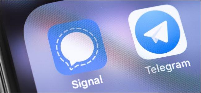 أيقونات تطبيق Signal و Telegram.