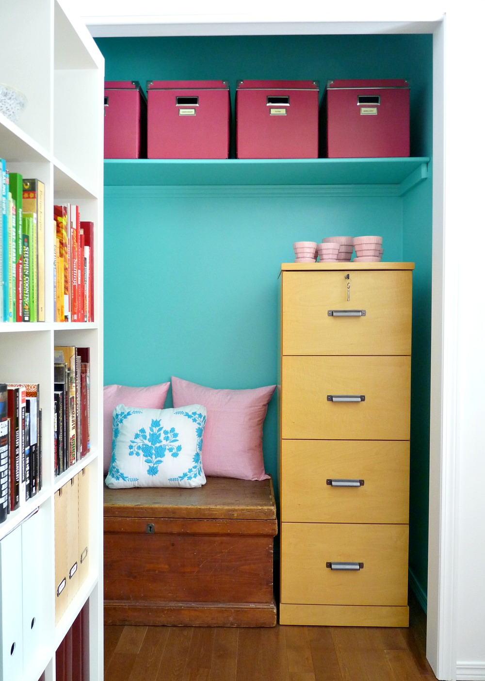 Office closet turned nook for filing cabinet