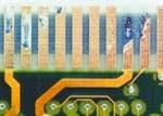 contactos con baño de oro en placa electrónica dañados
