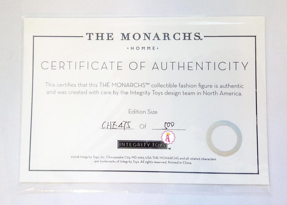 Сертификат куклы The Monarchs Homme Elias Veiga