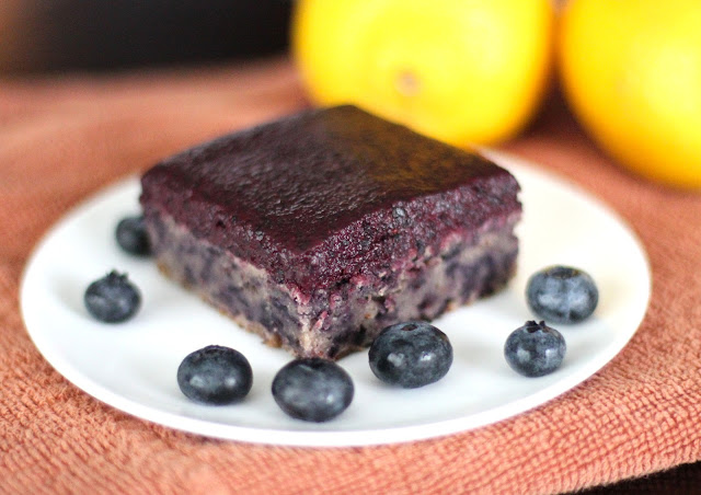 Healthy Blueberry Muffin Blondies with Blueberry Frosting (refined sugar free, low fat, gluten free, vegan) -- Healthy Dessert Recipes at Desserts With Benefits