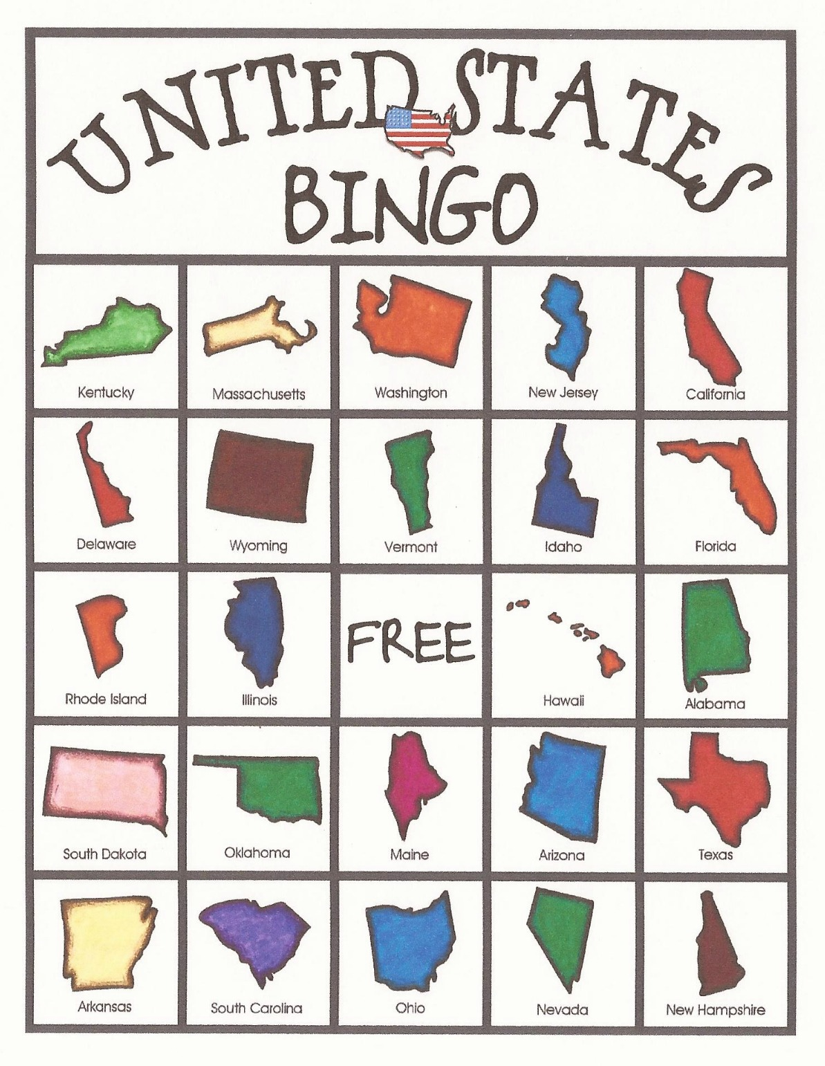 Relentlessly Fun Deceptively Educational United States Bingo Game