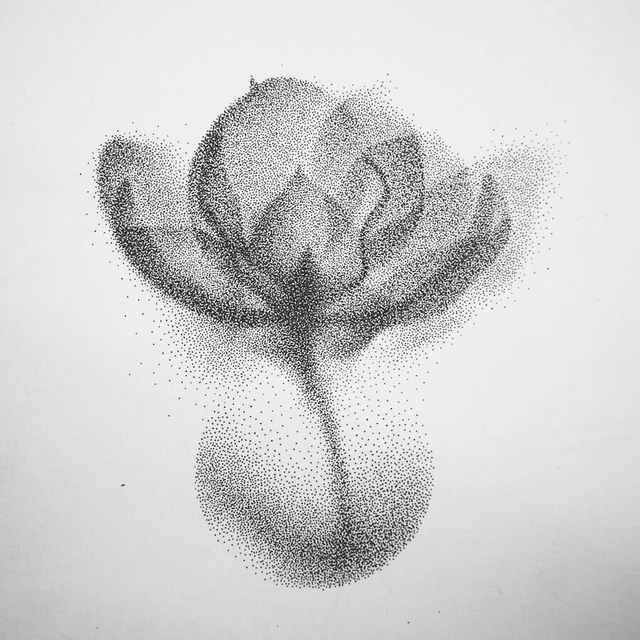 01-Petals-of-a-Flower-Eric-Wang-Stippling-Drawings-www-designstack-co