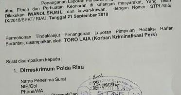 Pelapor Kuasa Hukum Bupati Bengkalis Pertanyakan Laporannya Ke Polda Riau