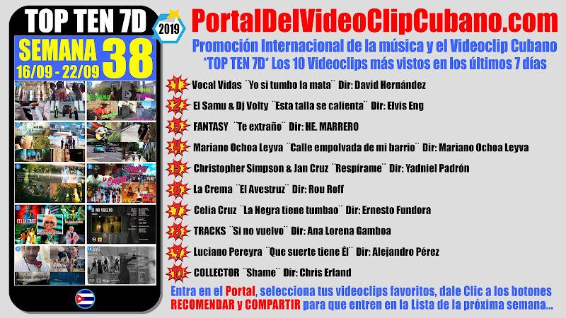 Artistas ganadores del * TOP TEN 7D * con los 10 Videoclips más vistos en la semana 38 (16/09 a 22/09 de 2019) en el Portal Del Vídeo Clip Cubano