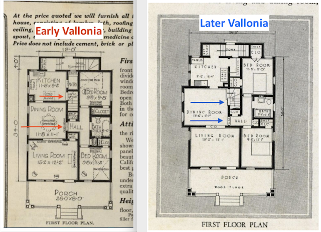 side by side comparison of early Sears Vallonia floor plan vs later Sears Vallonia floor plan