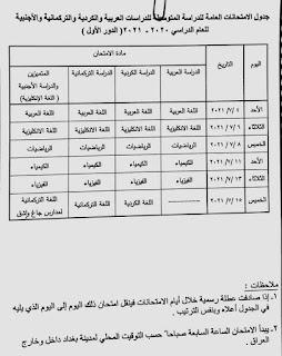 جدول امتحانات الوزاريه الثالث المتوسط 2021