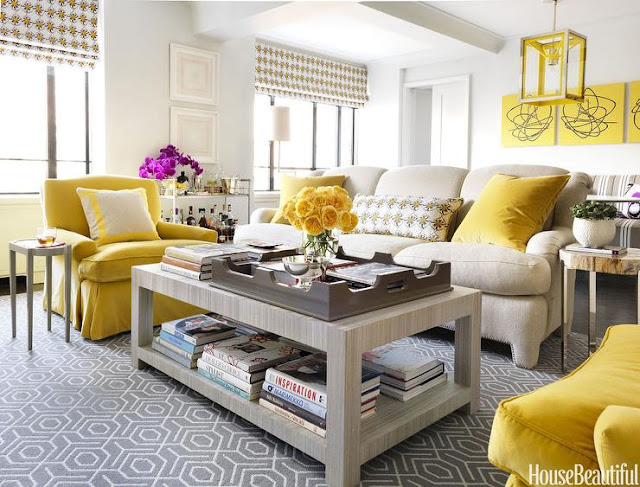 House Beautiful grey and yellow furniture